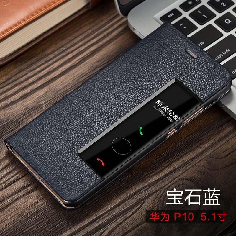 Huawei P10 Coque Cuir Véritable Housse Étui Incassable Violet Étui En Cuir