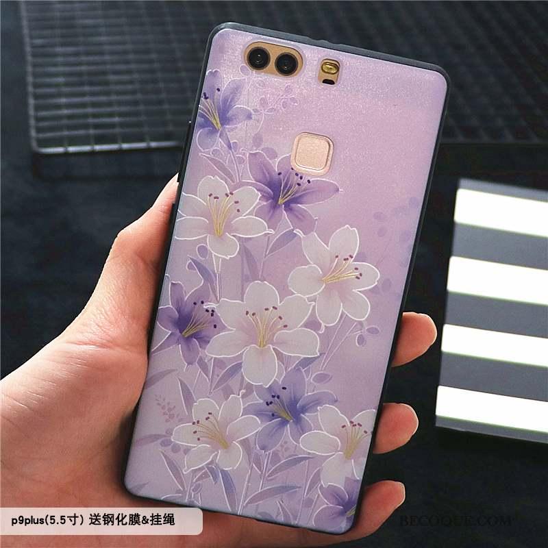 Huawei P9 Plus Coque Étui Tout Compris Violet Délavé En Daim Style Chinois Gaufrage