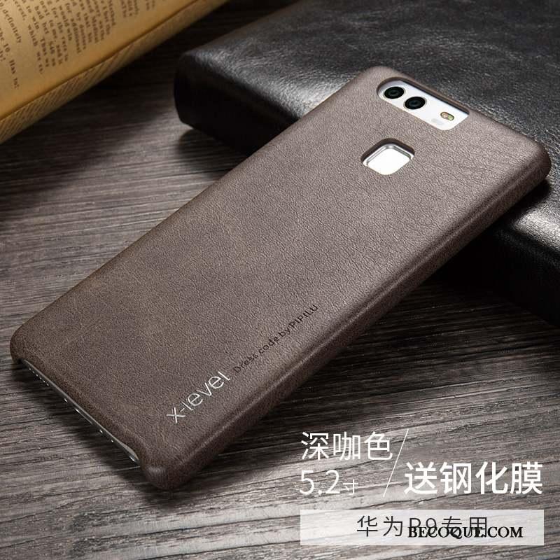Huawei P9 Très Mince Fluide Doux Noir Coque Cuir Véritable Incassable
