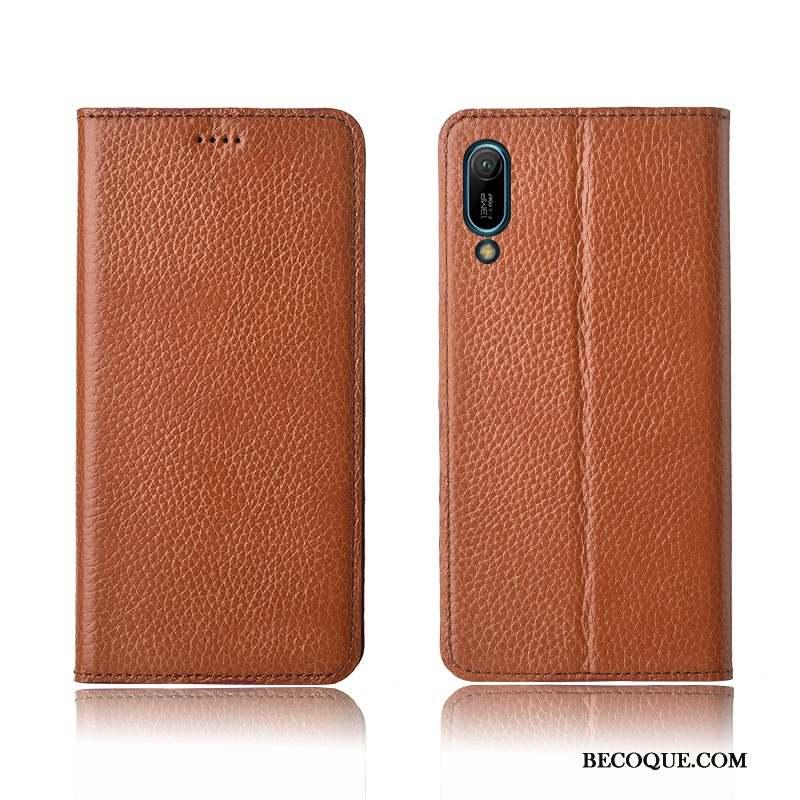 Huawei Y6 2019 Coque De Téléphone Cuir Véritable Nouveau Étui En Cuir Rouge Silicone
