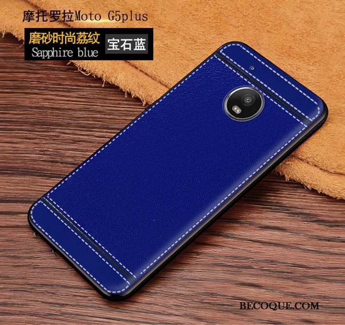 Moto G5 Plus Fluide Doux Créatif Coque Tout Compris Bleu Protection