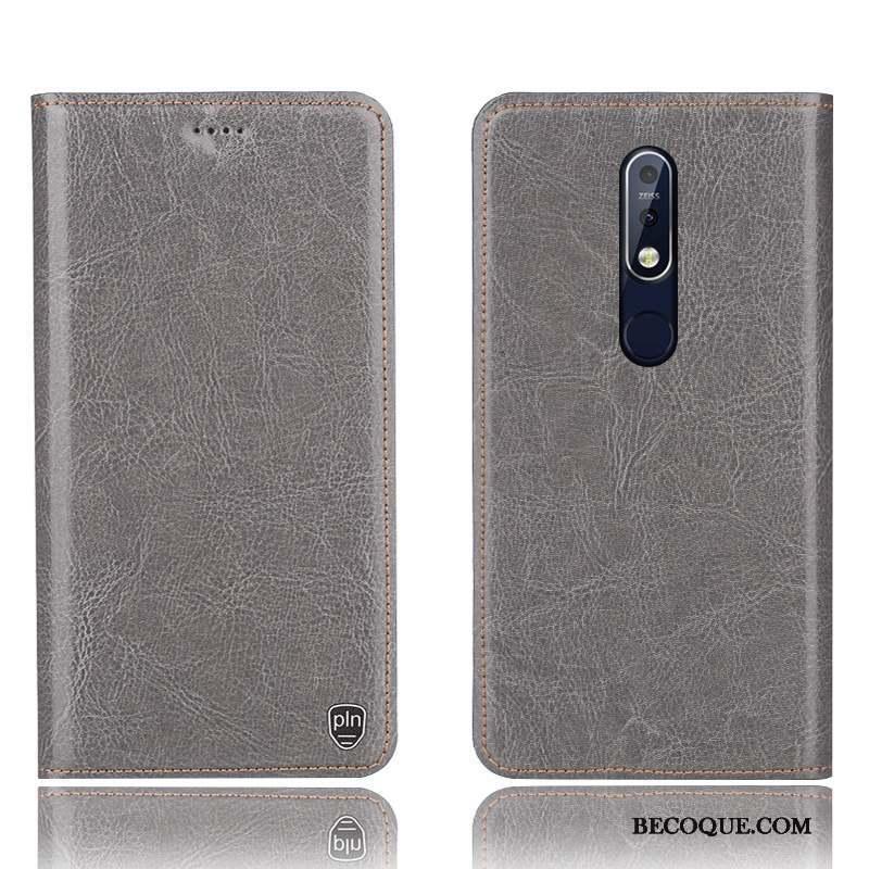 Nokia 7.1 Coque De Téléphone Modèle Fleurie Gris Étui En Cuir Protection Housse