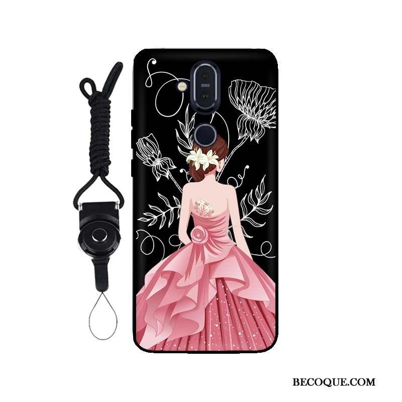 Nokia 8.1 Tout Compris Fluide Doux Noir Coque Ornements Suspendus Étui