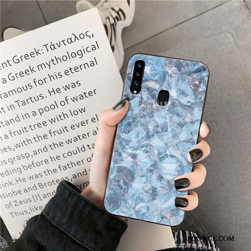 Samsung Galaxy A20s Violet Coque De Téléphone Losange Modèle Fleurie Silicone Cœur