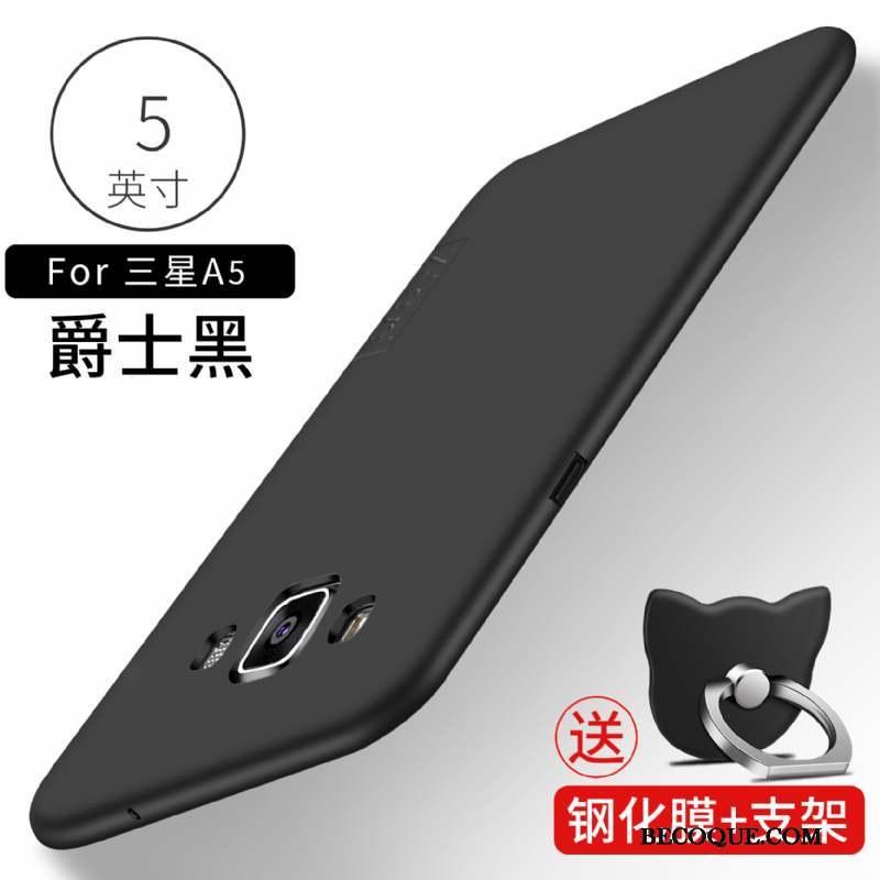 Samsung Galaxy A5 2015 Coque Protection Délavé En Daim Téléphone Portable Noir Étui Incassable