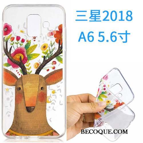Samsung Galaxy A6 Coque Dessin Animé Fluide Doux Étui Silicone Incassable Rose