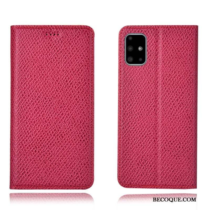 Samsung Galaxy A71 Étui En Cuir Incassable Housse Coque De Téléphone Protection Rouge