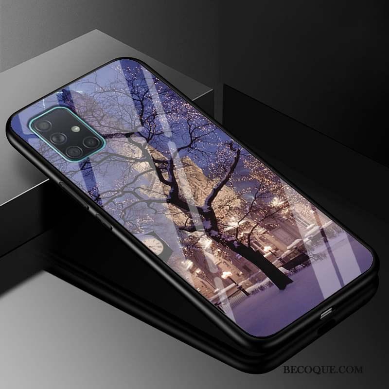 Samsung Galaxy A71 Coque Créatif Mode Silicone Marque De Tendance Noir Étui