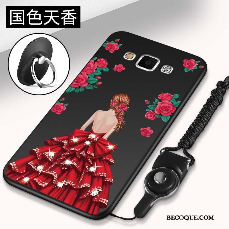 Samsung Galaxy J7 2015 Étui Coque De Téléphone Silicone Tendance Noir Téléphone Portable