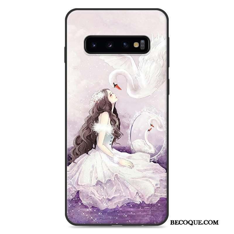 Samsung Galaxy S10+ Coque Protection Silicone Charmant Violet Personnalité Étui
