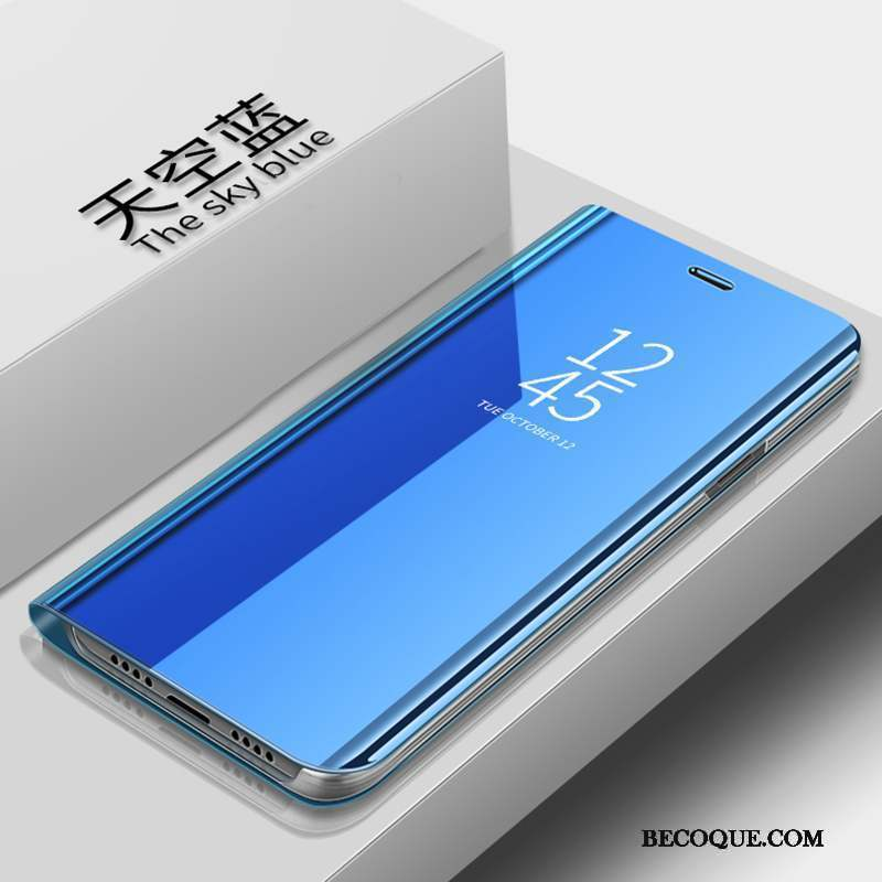 Samsung Galaxy S10e Coque Housse Transparent Violet Étui En Cuir Miroir Support