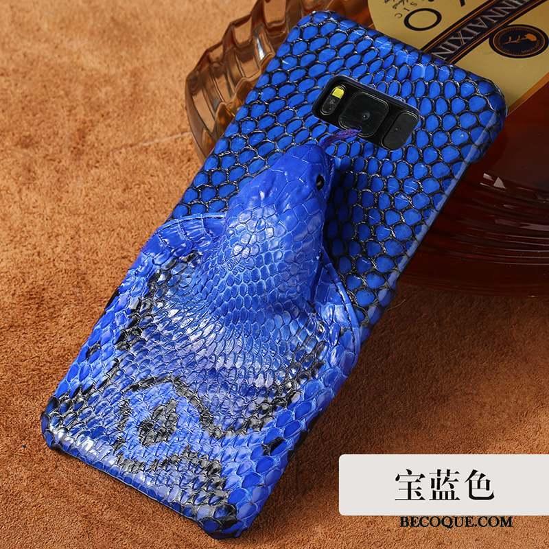 Samsung Galaxy S8 Coque De Téléphone Anneau Tendance Étui En Cuir Boucle Bleu