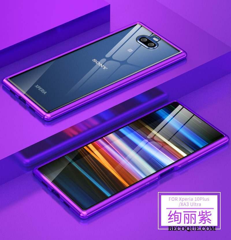 Sony Xperia 10 Plus Coque Incassable Brillant Border Protection Métal Violet