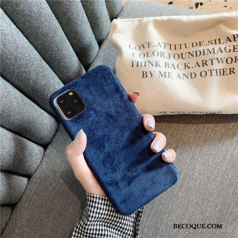 iPhone 11 Pro Max Créatif Amoureux Flanelle Coque De Téléphone Daim Fourrure Protection