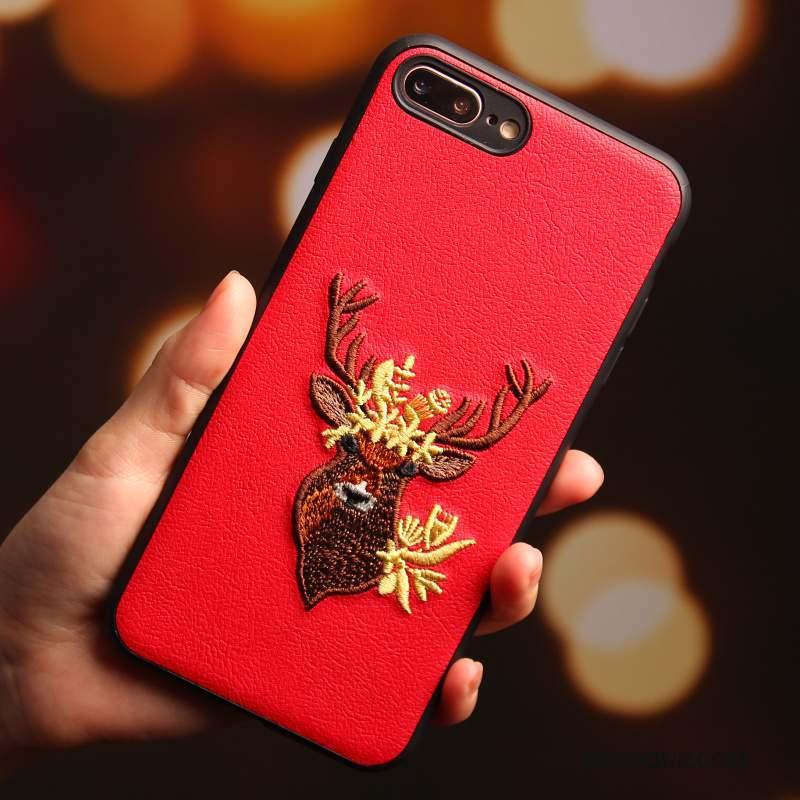 iPhone 8 Étui Cerf Rouge Broderie Coque De Téléphone Tout Compris