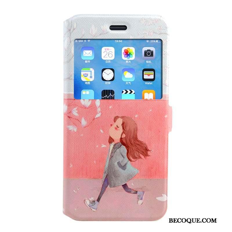 iPhone 8 Plus Coque Housse Étui En Cuir Peinture Protection Rose Dessin Animé