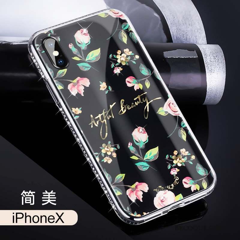 iPhone X Marque De Tendance Luxe Coque De Téléphone Tout Compris Noir Nouveau 5424 c02