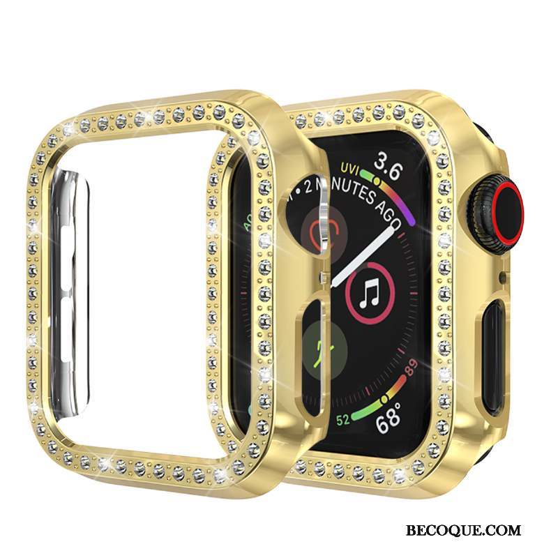 Apple Watch Series 3 Étui Incassable Incruster Strass Coque Or Protection