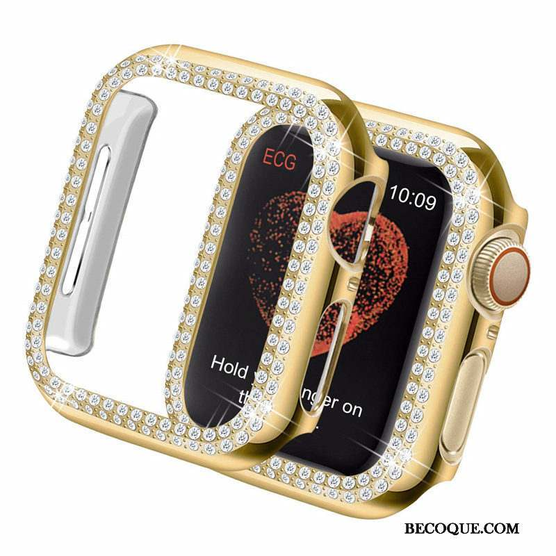 Apple Watch Series 4 Coque Difficile Placage Or Légères Strass Incruster Strass
