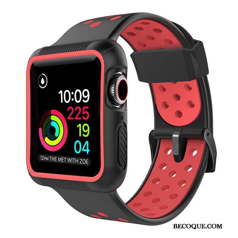Apple Watch Series 5 Sport Silicone Coque Rouge Protection