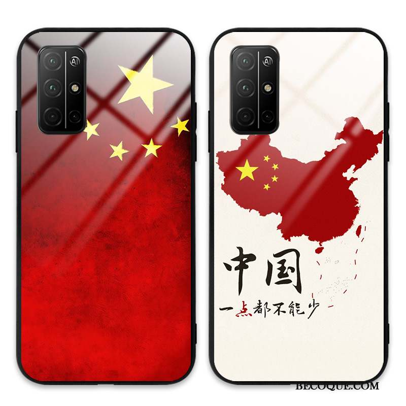 Honor View30 Pro Incassable Rouge Étui Verre Blanc Coque