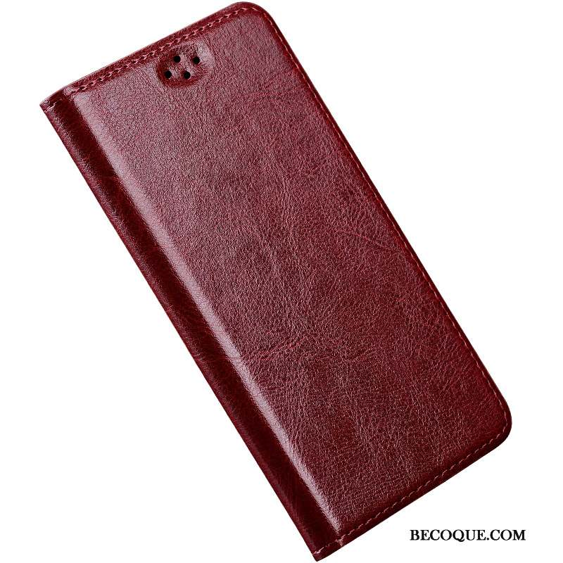 Htc 10 Coque Vin Rouge Incassable Étui Cuir Véritable Protection Simple