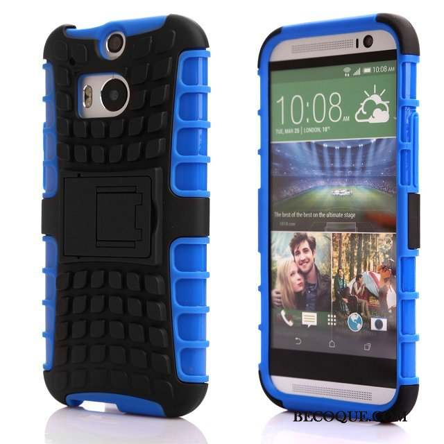 Htc One M8 Bleu Support Silicone Coque Protection Téléphone Portable