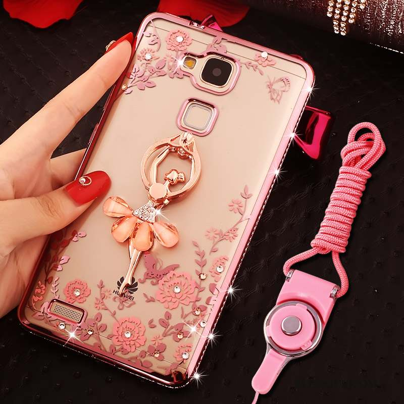 Huawei Ascend Mate 7 Coque Anneau Rose Strass Silicone Tout Compris Ornements Suspendus