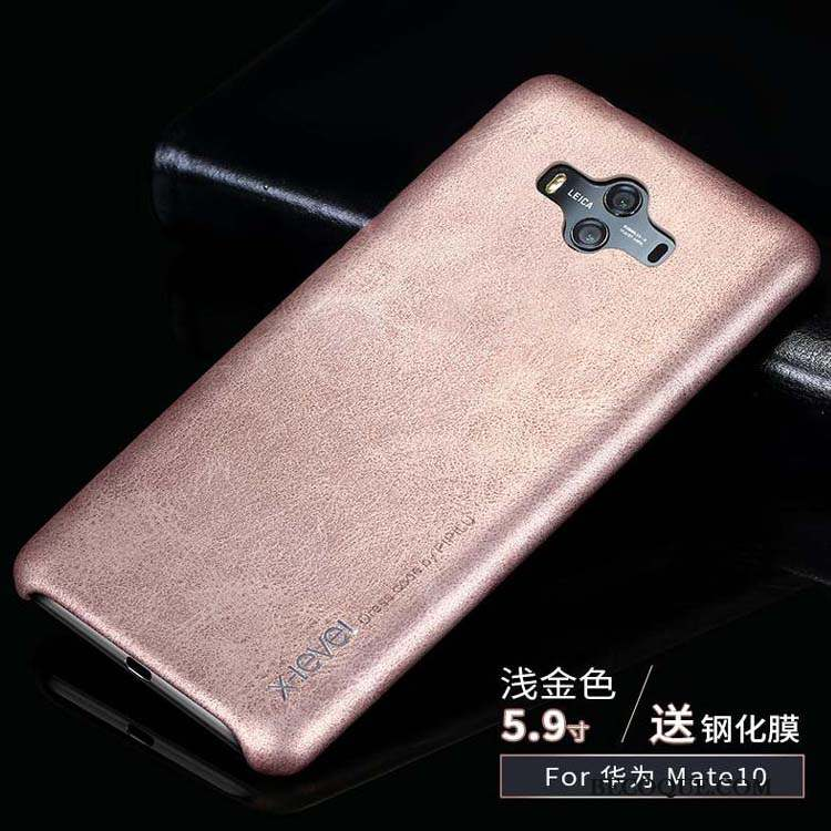 Huawei Mate 10 Business Clair Coque Incassable Or Cuir