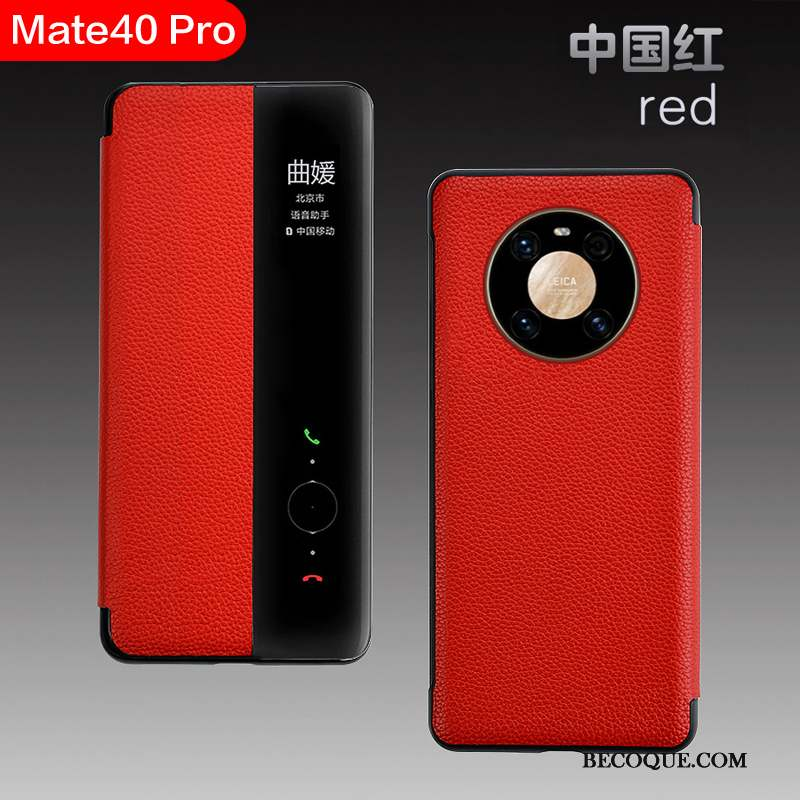 Huawei Mate 40 Pro Coque Rouge Tout Compris Windows Luxe Business Étui
