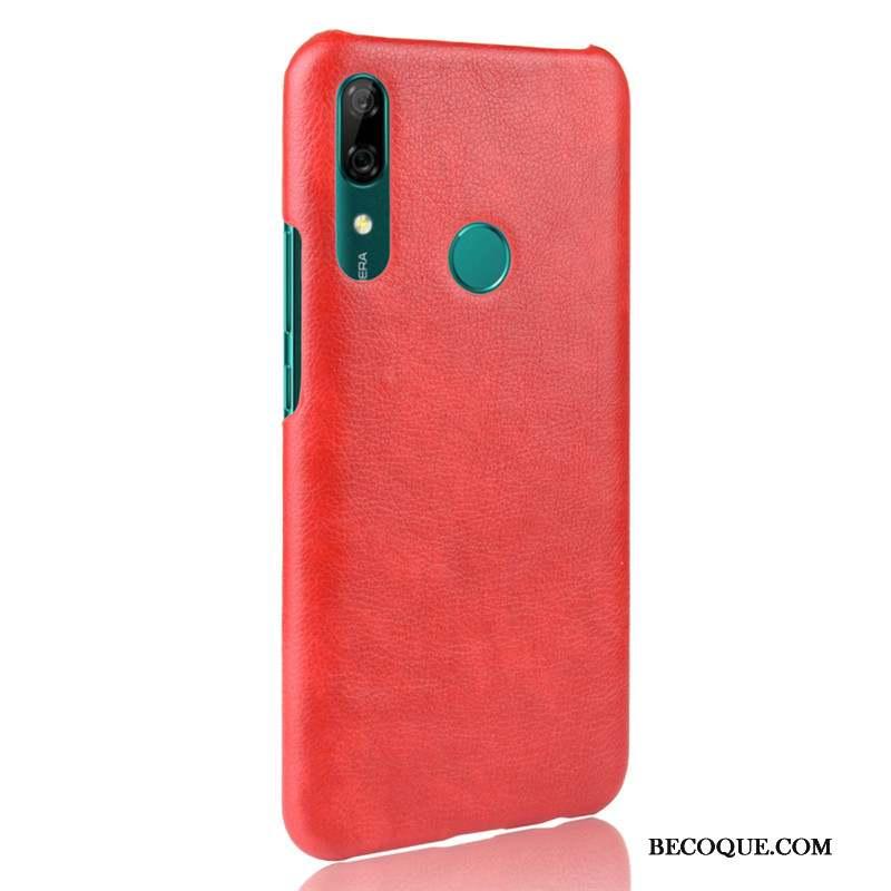 Huawei P Smart Z Incassable Litchi Coque Vintage Rouge Cuir