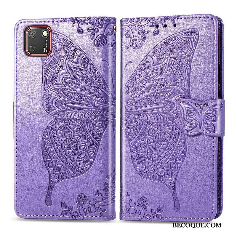 Huawei Y5p Coque Housse Similicuir Fleur Gaufrage Charmant Ornements Suspendus