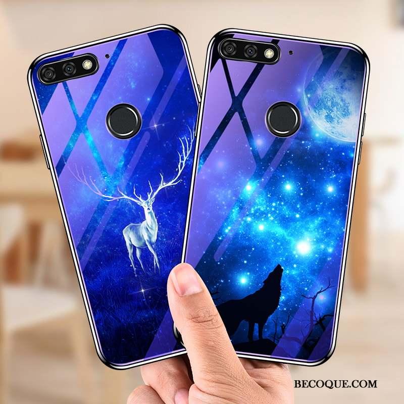 Huawei Y7 2018 Étui Protection Bleu Verre Trempé Coque De Téléphone