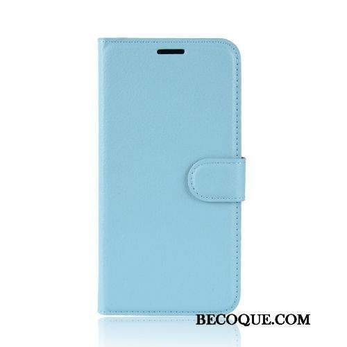 Moto E6 Plus Bleu Simple Litchi Protection Coque De Téléphone Business