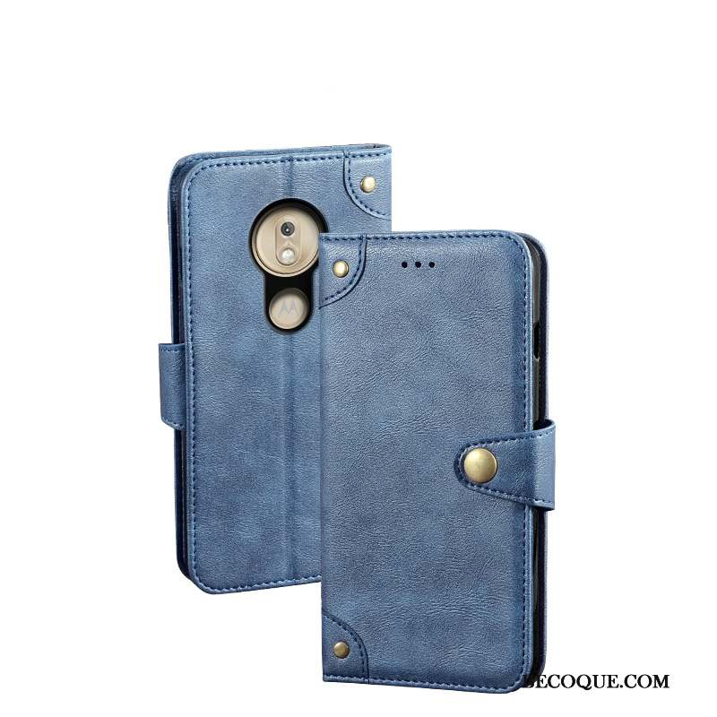 Moto G7 Play Étui En Cuir Protection Bleu Vent Coque Europe