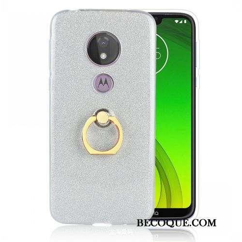 Moto G7 Power Coque Protection Argent Support Europe Étui Fluide Doux