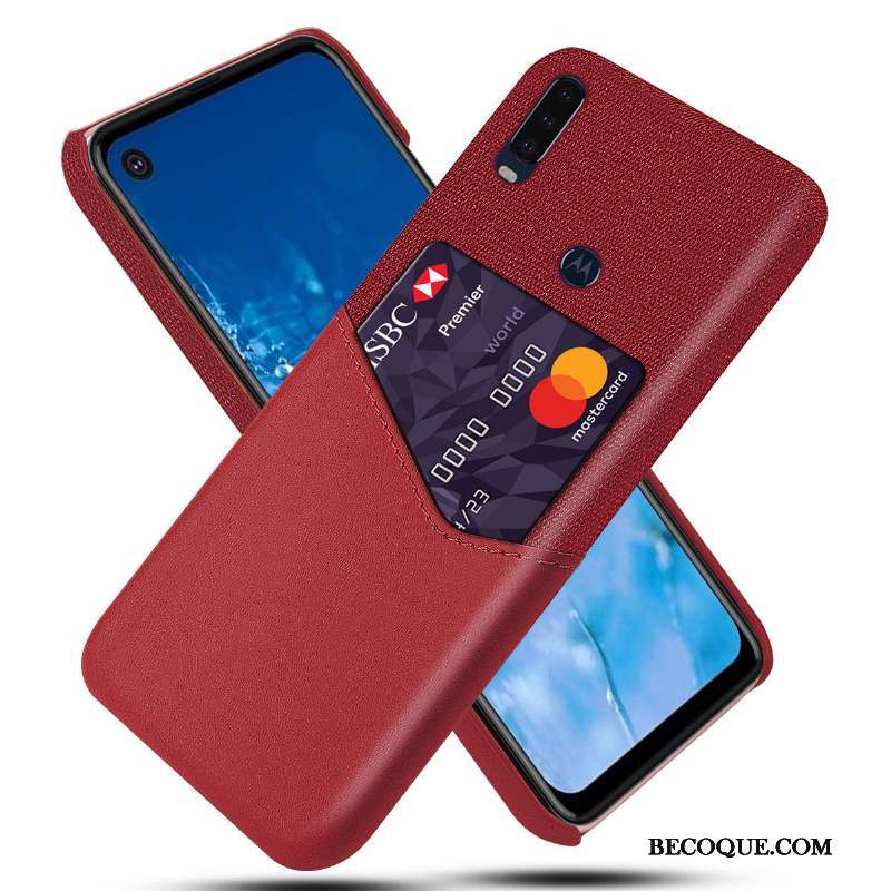 Motorola One Action Border Coque Rouge Couvercle Arrière Protection Sac