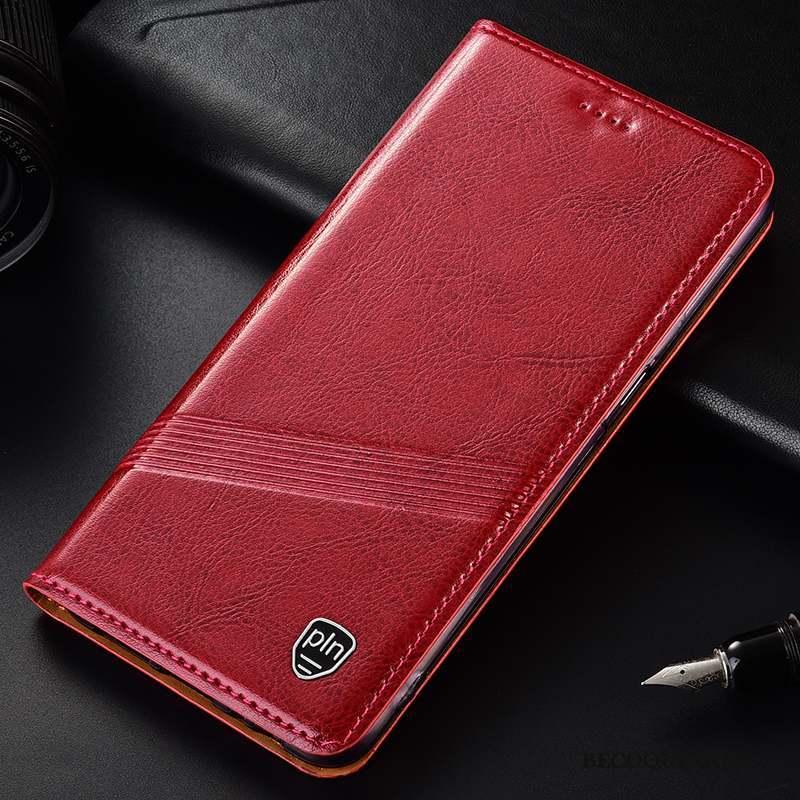 Motorola One Zoom Tout Compris Coque De Téléphone Housse Cuir Véritable Étui Rouge