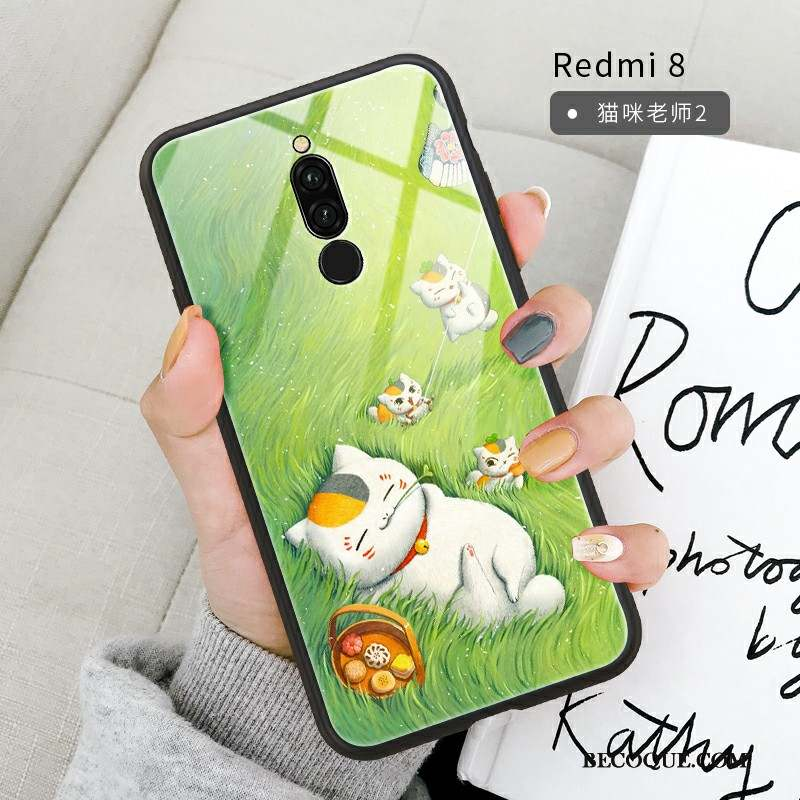 Redmi 8 Coque Incassable Ornements Suspendus Support Net Rouge Miroir Vert