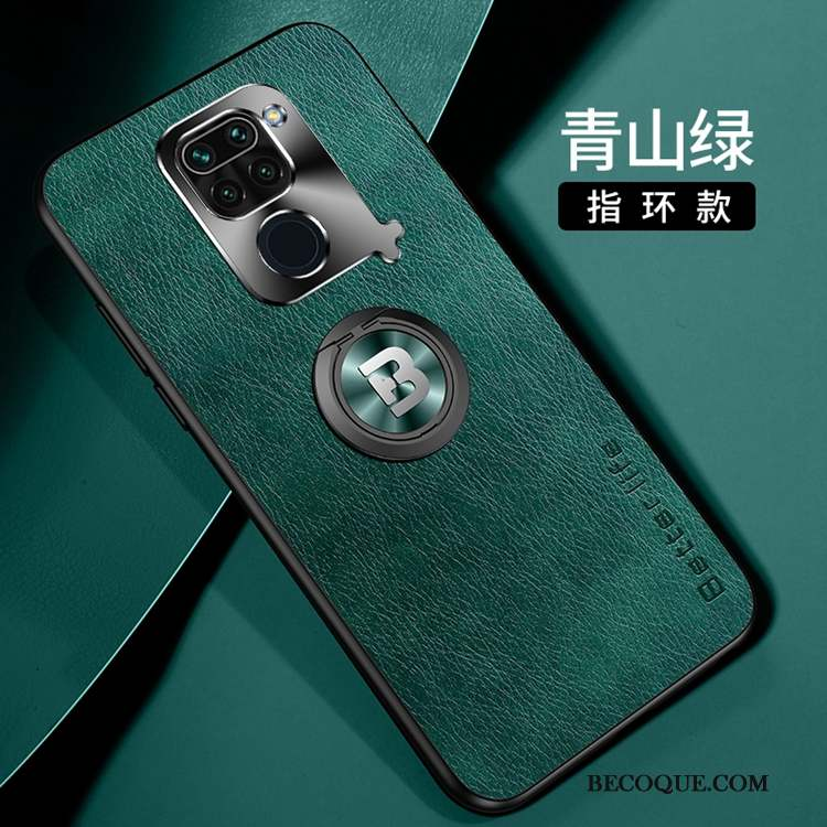 Redmi Note 9 Coque Ornements Suspendus Étui Étui En Cuir Vert Business Incassable