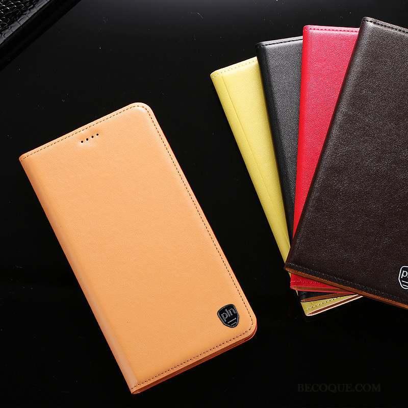 Samsung Galaxy A7 2015 Cuir Véritable Étui Coque De Téléphone Téléphone Portable Housse Jaune
