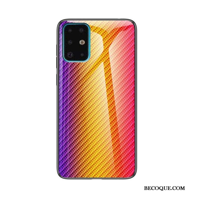 Samsung Galaxy A71 Verre Trempé Peinture Modèle Fleurie Jaune Fibre Coque