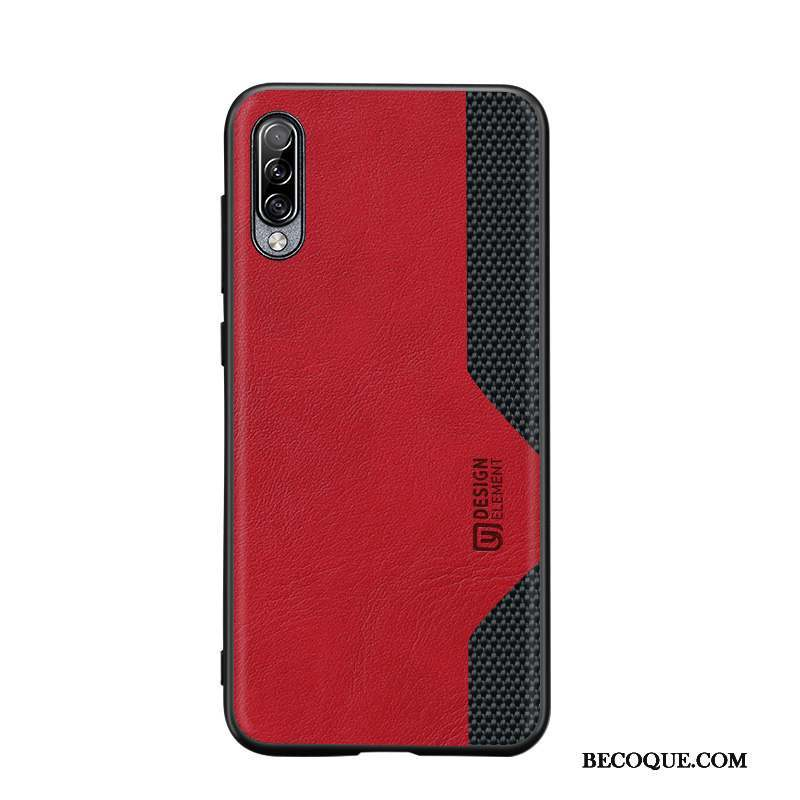 Samsung Galaxy A90 5g Coque Nylon Cuir Étui Protection Rouge Incassable