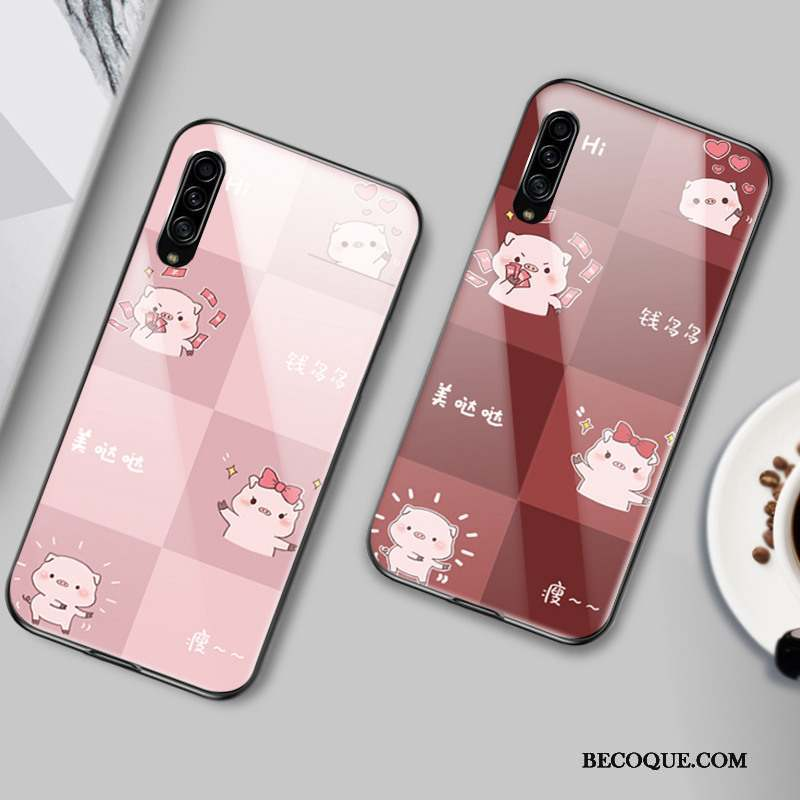 Samsung Galaxy A90 5g Verre Coque Protection Étui Rose Crocodile