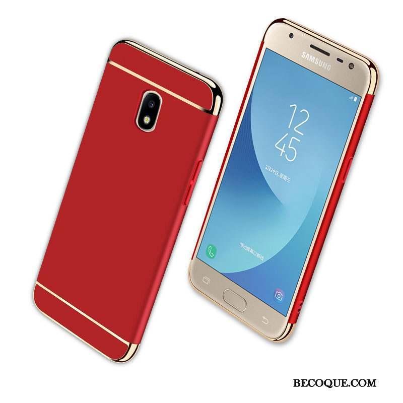 Samsung Galaxy J3 2017 Étui Rouge Coque De Téléphone Protection Délavé En Daim Incassable