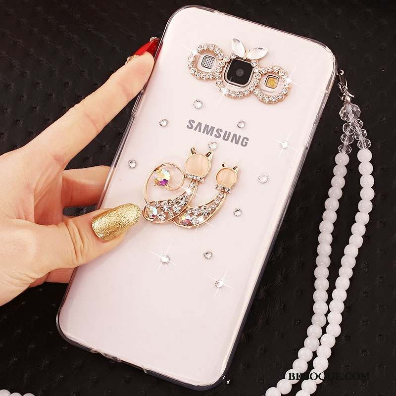 Samsung Galaxy J5 2016 Or Ornements Suspendus Incassable Coque De Téléphone Strass
