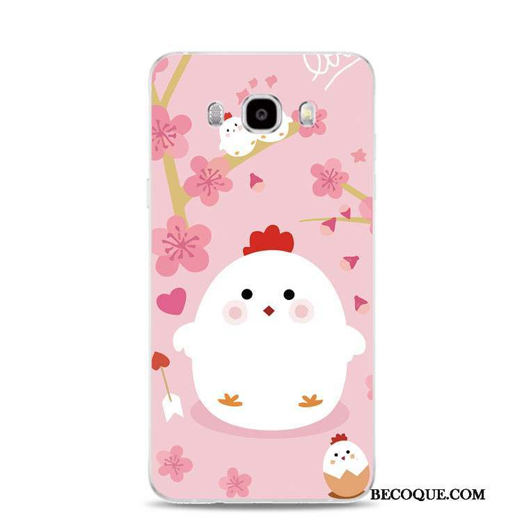 Samsung Galaxy J5 2017 Coque Support Silicone Rose Poulet Gaufrage Fluide Doux