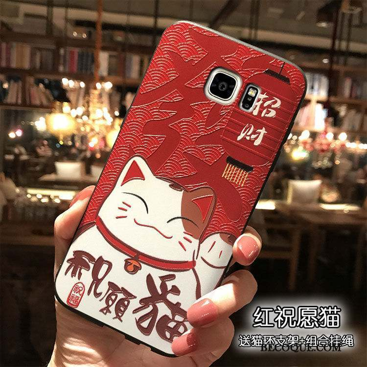 Samsung Galaxy Note 5 Coque Richesse Rouge Étui Chat Silicone