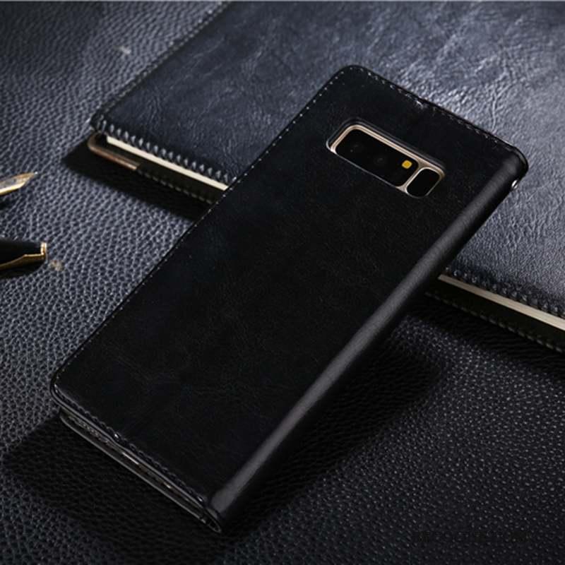 Samsung Galaxy Note 8 Étui En Cuir Coque De Téléphone Housse Protection Noir 0159bddbf05