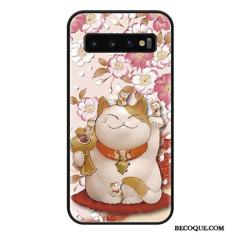 Samsung Galaxy S10 Coque Rose Mode Chat Ornements Suspendus Incassable Protection